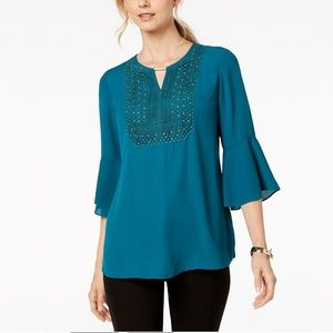 NWT JM Collection Crochet-Trim Top #2468 #2469
